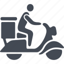 box, delivery, moped, shipping, transport icon