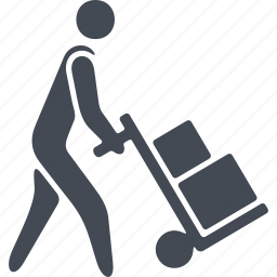 box, delivery, human, manual transport, wheelbarrow icon