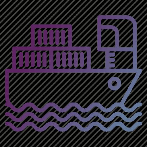 boat, cargo, delivery, sea, ship icon