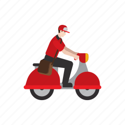 courier, delivery, job, motorcycle, people, scooter, work icon