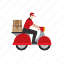 courier, delivery, job, motorcycle, package, people, scooter