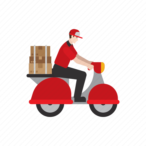 courier, delivery, job, motorcycle, package, people, scooter icon