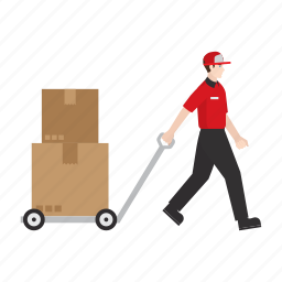 courier, delivery, job, package, people, trolley, work icon