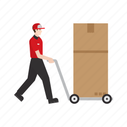 courier, delivery, job, occupation, people, refrigerator, work icon