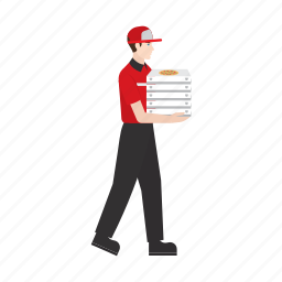 courier, delivery, food, job, people, pizza, work icon