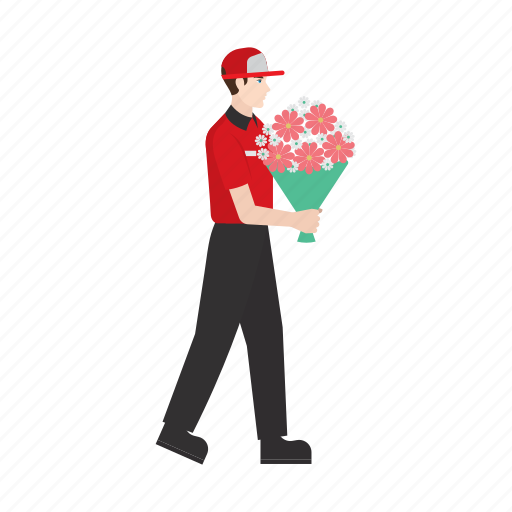 courier, delivery, flower, job, occupation, people, work icon