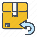 arrow, back, box, delivery, package, parcel, return icon