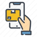 box, delivery, hand, mobile, online, package, phone icon