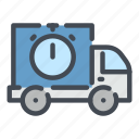delivery, shipping, stopwatch, transportation, truck, van, vehicle icon