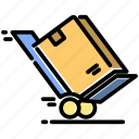 box, delivery, goods, package, send, troley icon