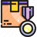 achievement, certificate, delivery, logistic, product, shipping icon