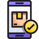 application, check, delivery, device, shipping, shopping, smartphone icon