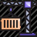 cargo, crane, delivery, shipping icon