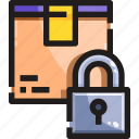 box, delivery, lock, product, secure, security, shipping icon
