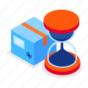 delivery, time, hourglass, cardboard icon
