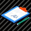document, agreement, signature, clipboard