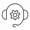 delivery, gear, headphones, support icon