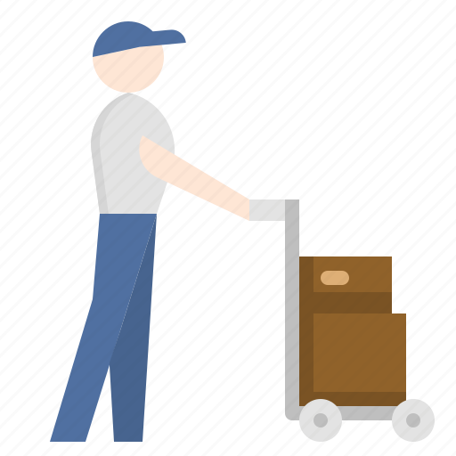 baggage, cart, delivery, man, push, shopping, tourist icon