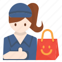 avatar, courier, delivery, errand, woman icon