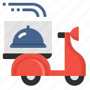 cooking, delivery, food, restaurant, scooter, service, shipping icon