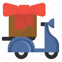 birthday, delivery, gift, scooter, surprise icon
