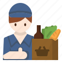 avatar, delivery, grocery, man, market, online, service icon