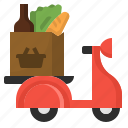 box, delivery, errand, grocery, scooter, supermarket icon