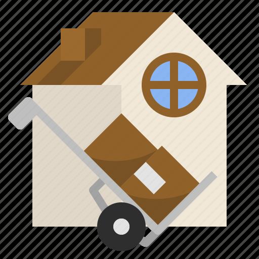 courier, delivery, estate, home, relocation, service icon