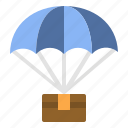 airtransport, courier, delivery, parachute, shipping icon