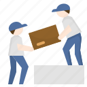 courier, helping, male, man, parcel, relocation, worker icon