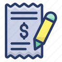 bill, invoice, itemized bill, payment invoice, receipt, statement icon