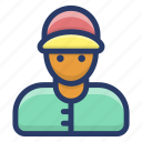 cargo service, courier boy, delivery man, delivery person, package delivery icon