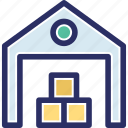 depository, stock warehouse, stockroom, storehouse, storeroom icon