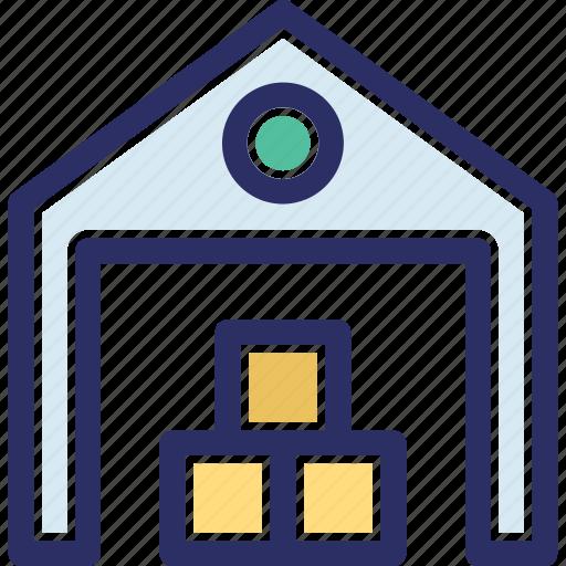 depository, stock warehouse, stockroom, storehouse, storeroom icon