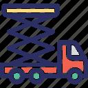 car jack, lift tool, screw jack, tyre jack, vehicle maintenance jack icon