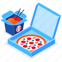 pizza, noodles, wok, food delivery icon