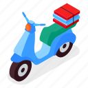scooter, delivery, service, transportation icon