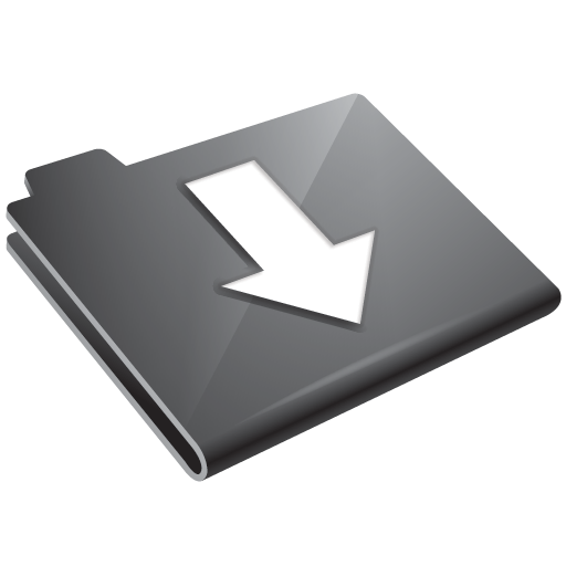 arrow, down, folder, grey icon