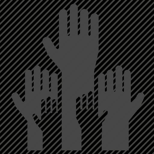 democracy, election, hands, political, up, volunteer, vote icon
