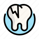 caries, dental, dentist, destruction, medical, tooth icon