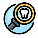 dental, dentist, medical, search, tooth icon