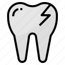 broken, dental, dentist, medical, tooth icon