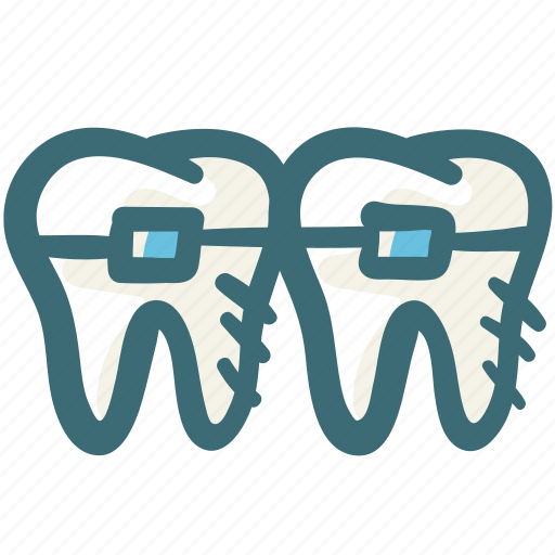 braces, care, dental, doodle, orthodontic, teeth, treatment icon