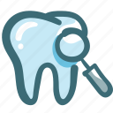 dental, dentist, doodle, medical, oral hygiene, search, tooth icon