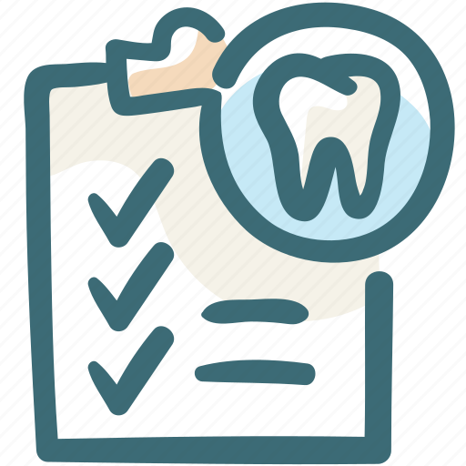 care, dental, invoice, list, stomatology, tooth, treatment icon