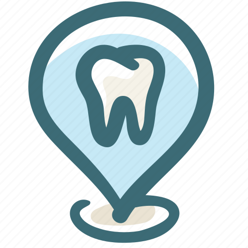 address, care, clinic, dental, doodle, location, pin icon