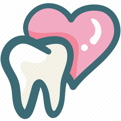 care, dental, doodle, heart, love, tooth icon