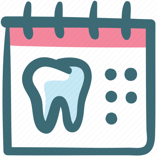 appointment, calendar, care, dental, doodle, tooth, visit icon