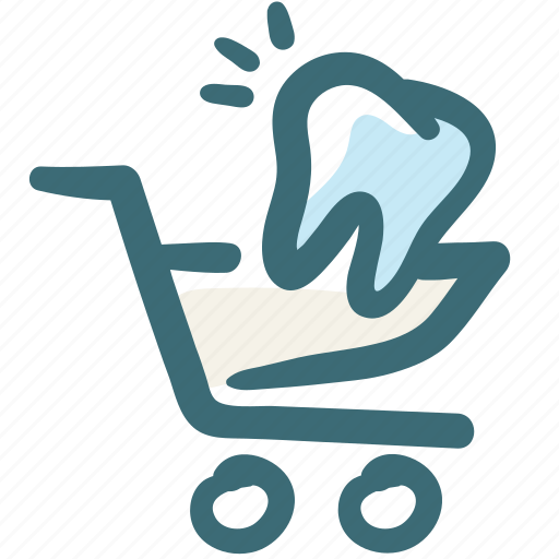 care, cart, dental, doodle, payment, shopping, tooth icon