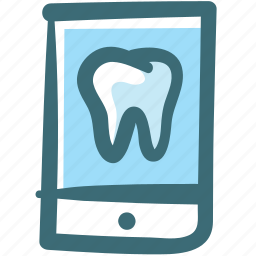 application, care, dental, doodle, mobile, screen, tooth icon